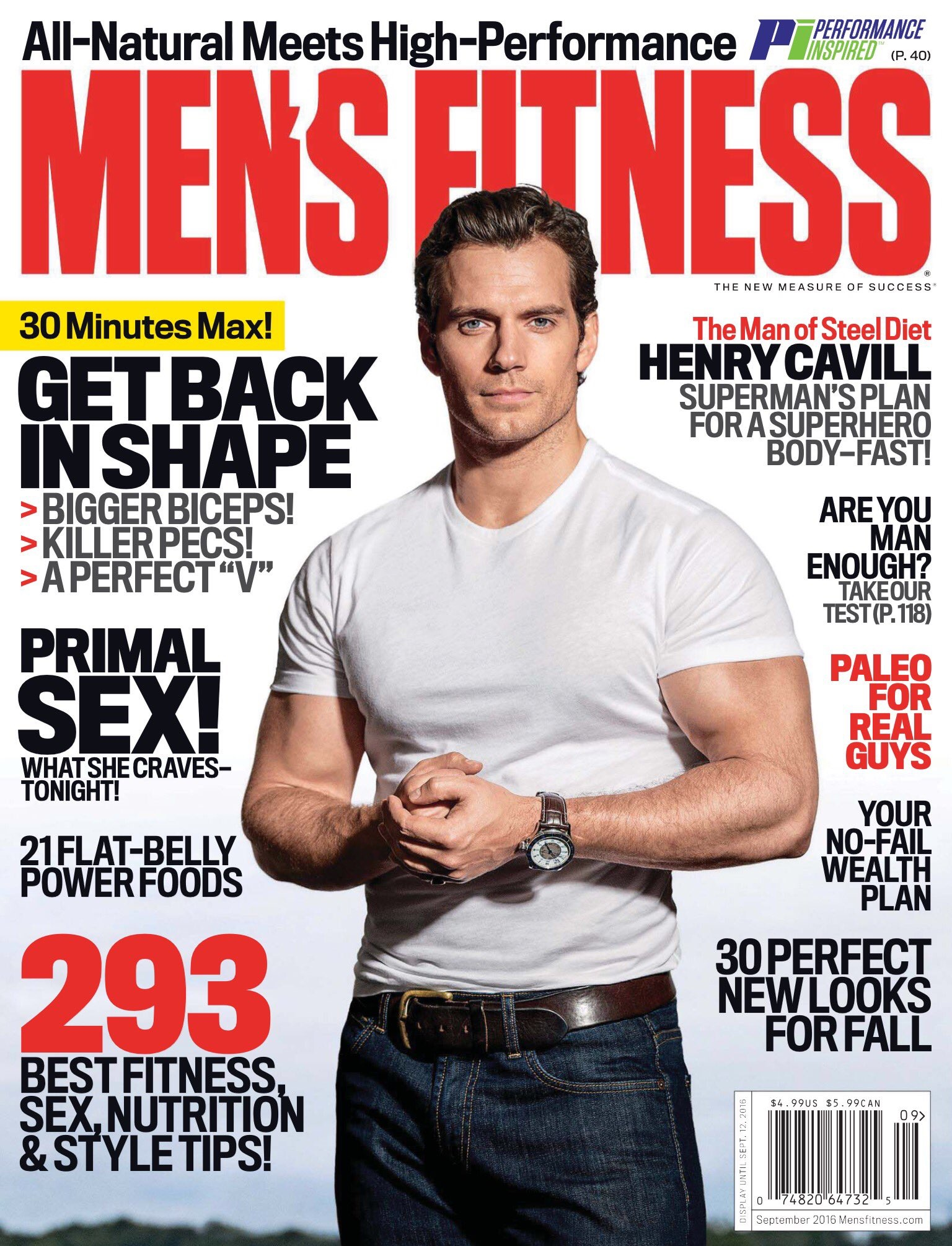 Henry Cavill looking yoked on the cover of Men's Fitness