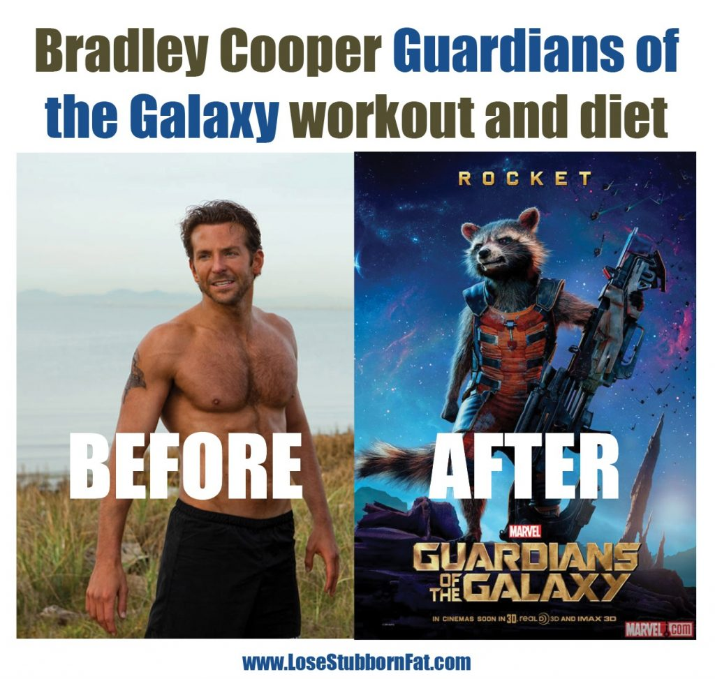 Bradley Cooper Guardians of the Galaxy Workout and Diet (dramatic body transformation)
