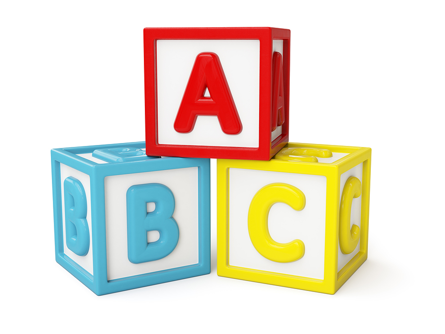 ABC alphabet building blocks with letters isolated on white