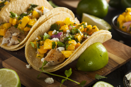 28246585 - homemade baja fish tacos with mango salsa and chips