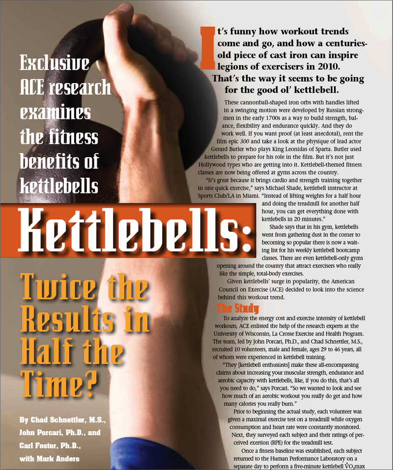 ACE Kettlebell Study 1200 Calories Per Hour